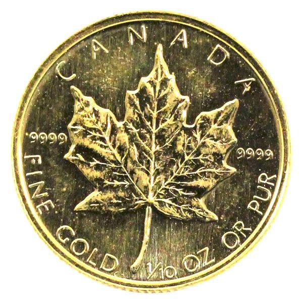 1989 Canada 1/10oz .9999 Fine Gold Maple Leaf. TAX Exempt