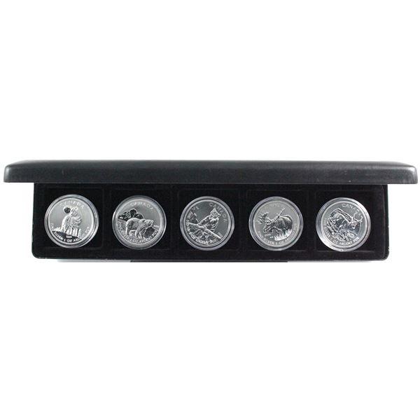 2011-2013 Canada Wildlife Series 1oz .9999 Fine Silver Coins Encapsulated in Black Display Box - 201