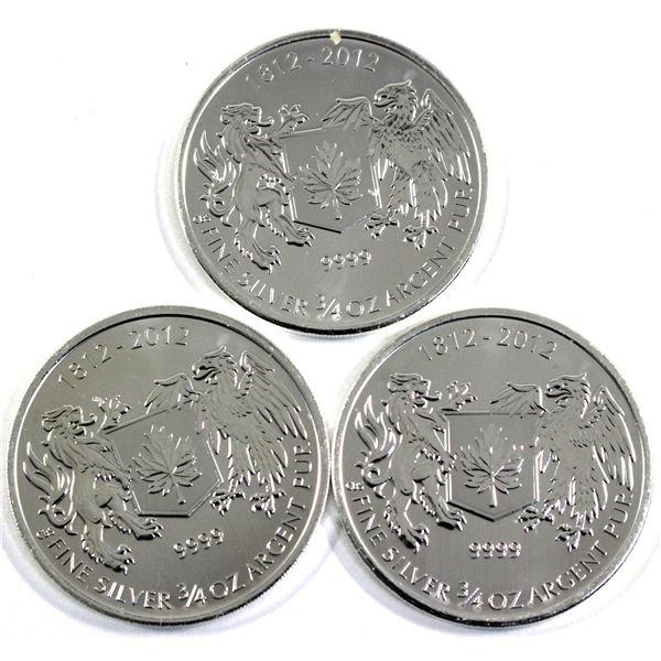 1812-2012 Canada 3/4oz War of 1812 .9999 Fine Silver Coins. 3pcs (TAX Exempt)