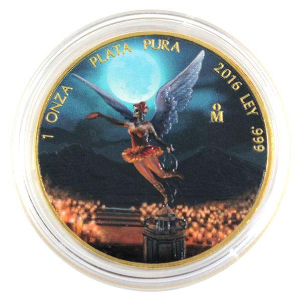 2016 Mexico 1oz .999 Fine Silver Coloured & Gilded Libertad in Capsule. (TAX Exempt)