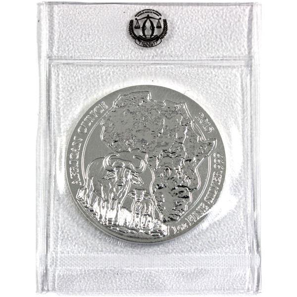 2015 Rwanda 1oz .999 Fine Silver African Ox in Original Mint Sealed Plastic. (TAX Exempt)