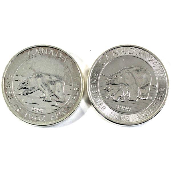 2013 Canada Polar Bear & 2015 Polar Bear and Cub 1.5oz .9999 Fine Silver Coins (2013 is toned). 2pcs