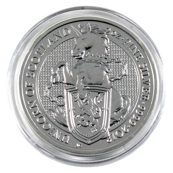 2018 Great Britain 5 Pound The Queen's Beasts - Unicorn of Scotland 2oz .9999 Fine Silver Coin in Ca