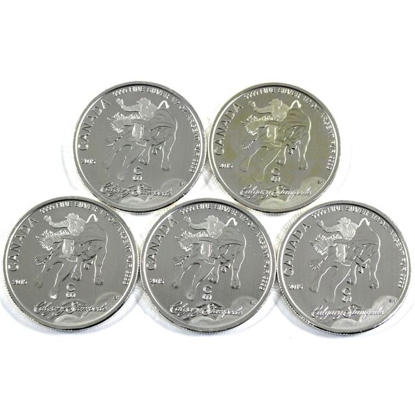 2015 Canada $2 Calgary Stampede 1/2oz .9999 Fine Silver Coins. 5pcs (TAX Exempt)