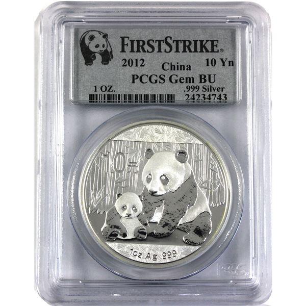 2012 China 1oz .999 Fine Silver Panda PCGS Certified Gem BU First Strike. TAX Exempt