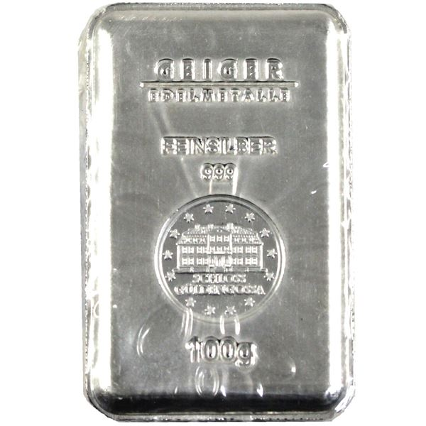 Geiger Edelemetalle 100g .999 Fine Silver Bar in Sealed Mint Plastic. (3.215oz)  (TAX Exempt)