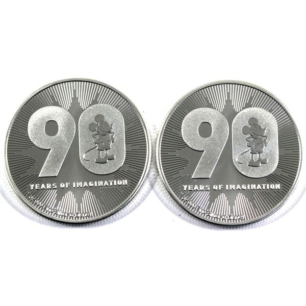 2018 Niue $2 Mickey Mouse 90 Years of Imagination 1oz .999 Fine Silver Coins. 2pcs (TAX Exempt)