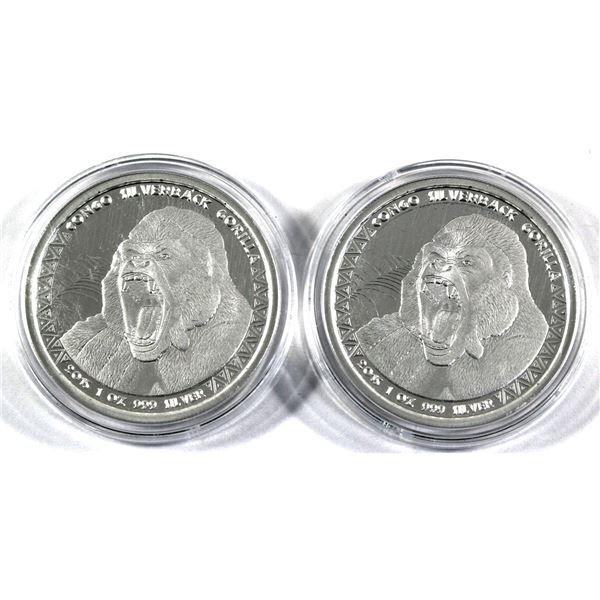 2015 Republic of Congo 5000 Francs Silverback Gorilla 1oz .999 Fine Silver Coins in Capsules. 2pcs (