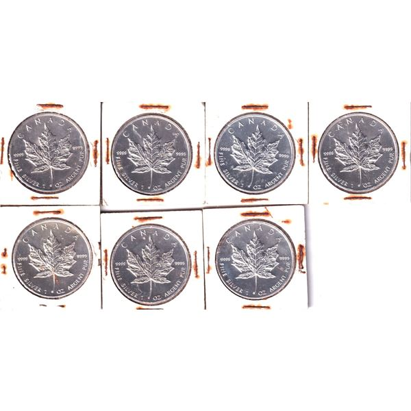 1988 Canada 1oz .9999 Fine Silver Maple Leafs (Some coins may be lightly toned). 7pcs (TAX Exempt)