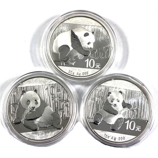 2014, 2015 & 2016 China 1oz .999 Fine Silver Pandas in Capsules. 3pcs (TAX Exempt)