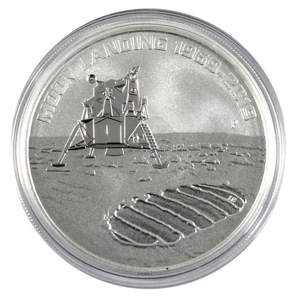 1969-2019 Australia 50th Anniversary of the Moon Landing 1oz .9999 Fine Silver Coin in Capsule. (TAX