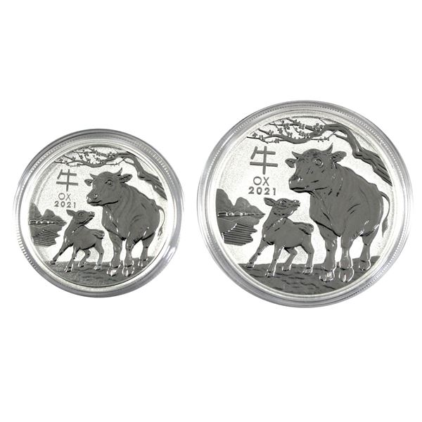 2021 Australia 1/2oz & 1oz Year of the Ox .9999 Fine Silver Coins in Capsules. 2pcs (TAX Exempt)