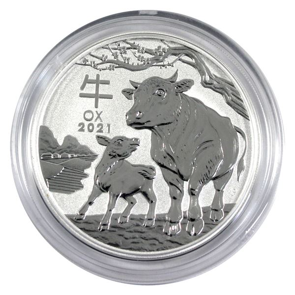2021 Australia 2oz Year of the Ox .9999 Fine Silver Coin in Capsule. (TAX Exempt)