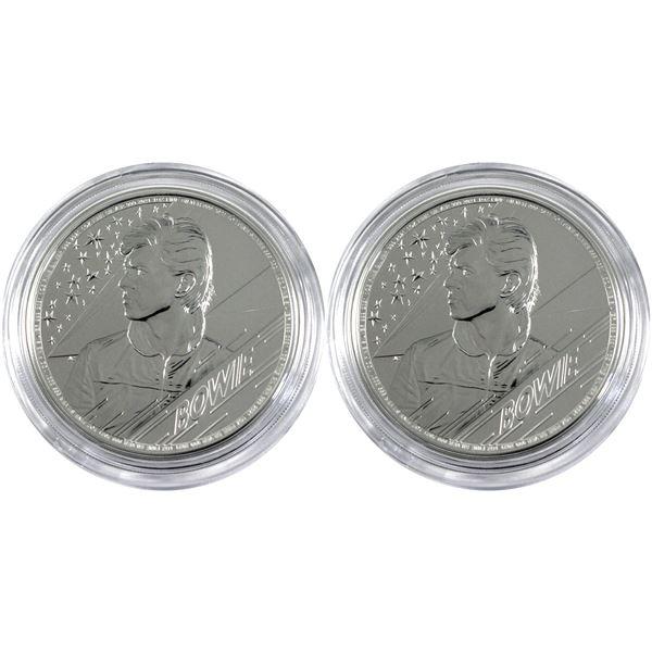 2021 Great Britain 5 Pound Music Legends - David Bowie 1oz .999 Fine Silver Coins in Capsules. 2pcs