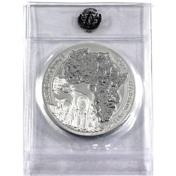 2021 Rwanda 1oz Year of the Okapi .999 Silver Coins in Sealed Mint Plastic. 2pcs (TAX Exempt)