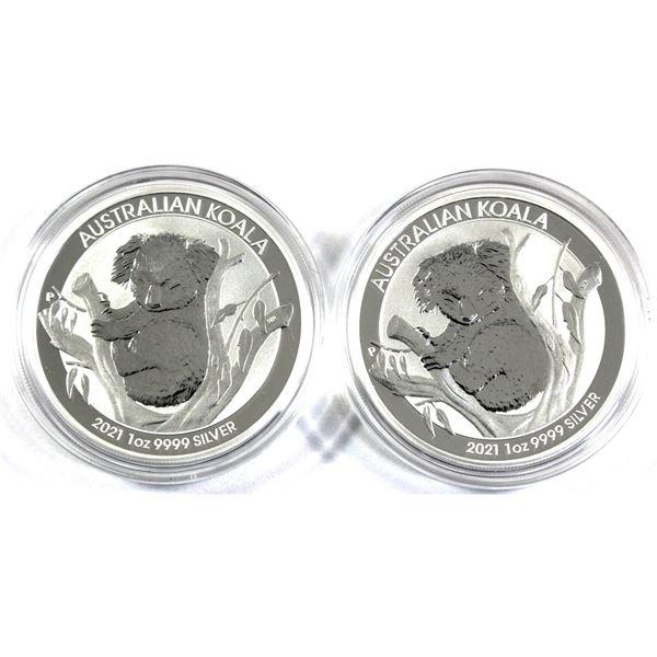 2021 Australia 1oz .9999 Fine Silver Koalas in Capsules. 2pcs (TAX Exempt)