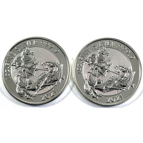 2021 Great Britain 1oz Valiant .9999 Fine Silver Coins. 2pcs (TAX Exempt)