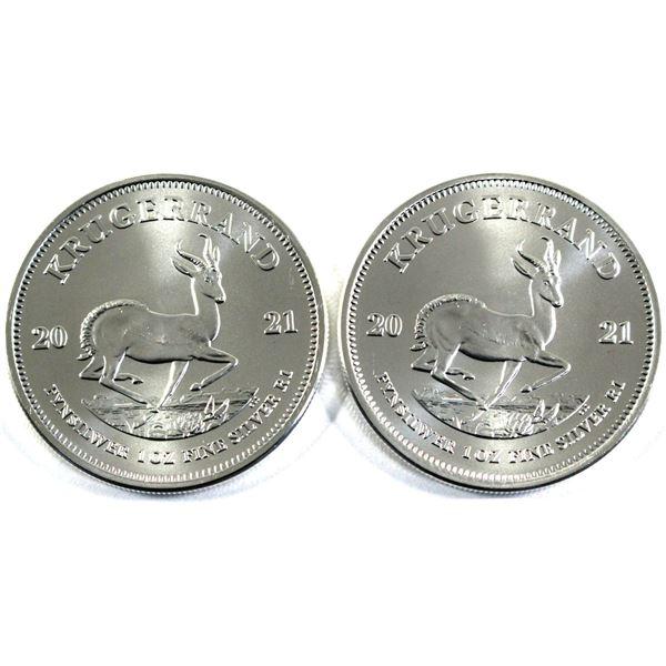 2021 South Africa 1oz .999 Fine Silver Krugerrands. 2pcs (TAX Exempt)