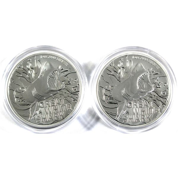 2021 Australia 1oz Great White Shark .999 Fine Silver Coins in Capsules. 2pcs (TAX Exempt)
