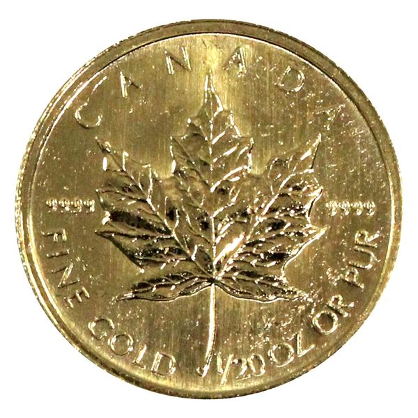 1998 Canada 1/20oz .9999 Fine Gold Maple Leaf (Scratched). TAX Exempt