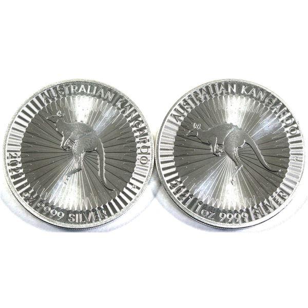 2021 Australia 1oz Kangaroo .9999 Fine Silver Coins. 2pcs (TAX Exempt)