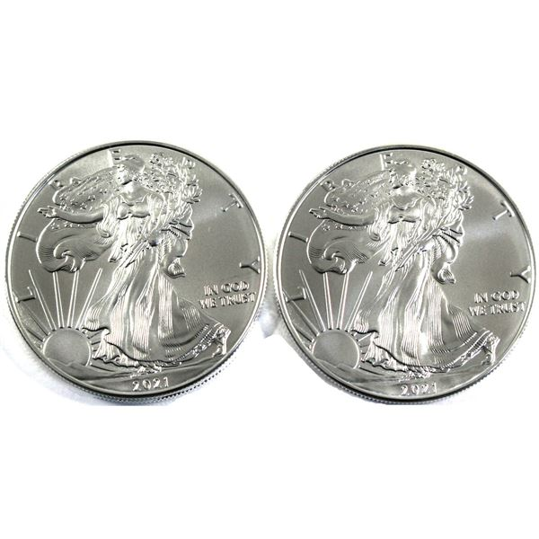 2021 USA 1oz .999 Fine Silver Eagles. 2pcs (TAX Exempt)