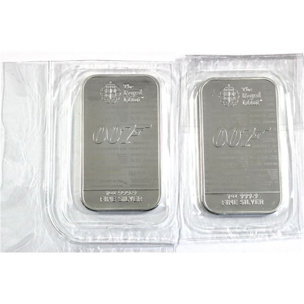 2020 Great Britain James Bond 007 - No Time to Die 1oz .9999 Fine Silver Bars in Sealed Mint Plastic