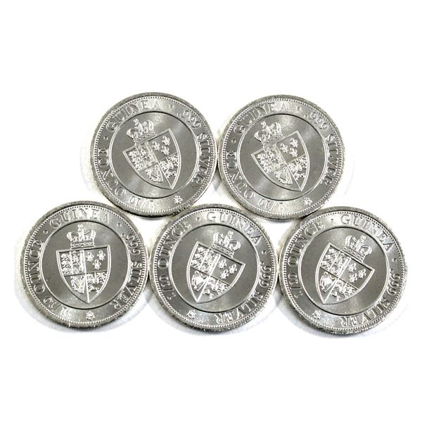 2020 St. Helena 1/10oz Guinea - The East Indian Company .999 Fine Silver Coins. 5pcs (TAX Exempt)