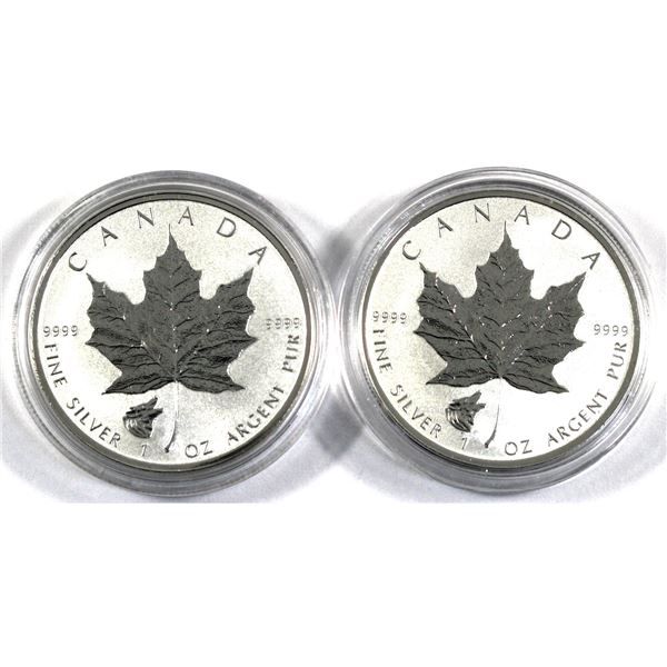 2016 Canada 1oz Wolf Privy .9999 Silver Maple Leafs in Capsules. 2pcs (TAX Exempt)
