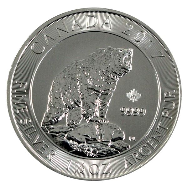 2017 $8 Canadian Grizzly Bear 1.5oz .9999 Fine Silver Coin. (TAX Exempt)
