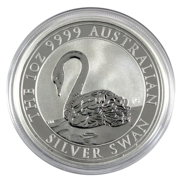 2021 Australia $1 Silver Swan 1oz .9999 Fine Silver Coin in Capsule. (TAX Exempt)