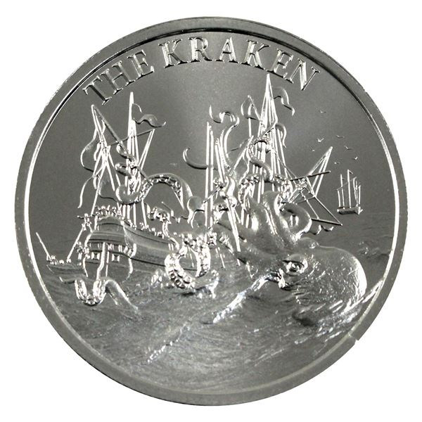 Cryptozoology - The Kraken High Relief 2oz .999 Silver Coin by Intaglio Mint. (TAX Exempt)