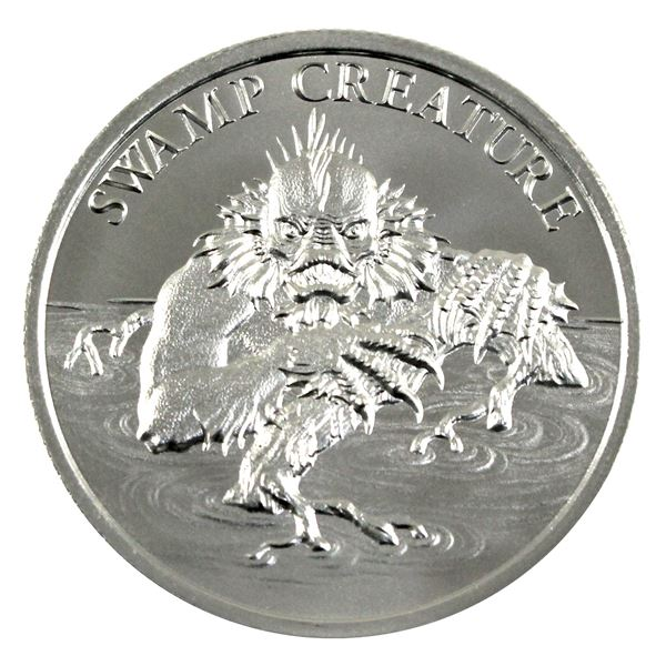 Vintage Horror - Swamp Creature High Relief 2oz .999 Silver Coin by Intaglio Mint. (TAX Exempt)