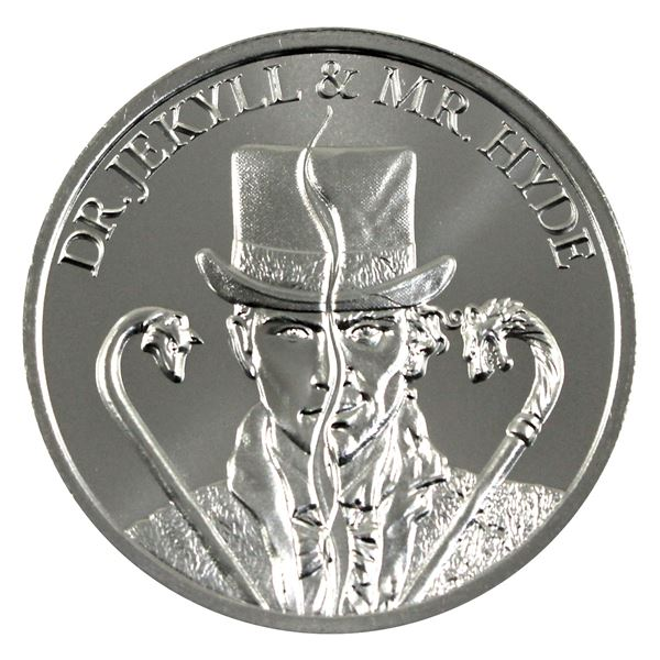 Vintage Horror - Dr. Jekyll & Mr. Hyde High Relief 2oz .999 Silver Coin by Intaglio Mint. (TAX Exemp
