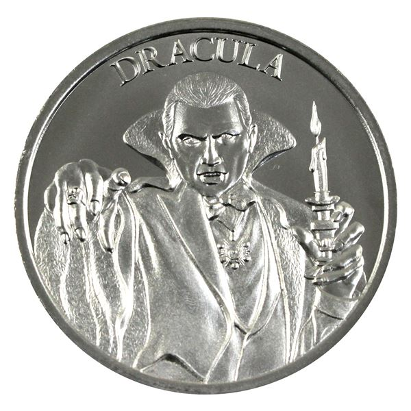Vintage Horror - Dracula High Relief 2oz .999 Silver Coin by Intaglio Mint. (TAX Exempt)