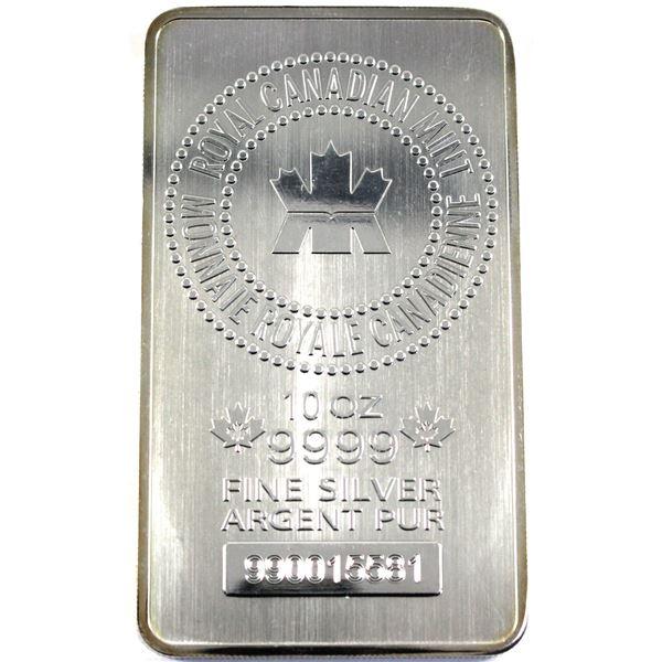 10oz Royal Canadian Mint .9999 Fine Silver Bar. TAX Exempt