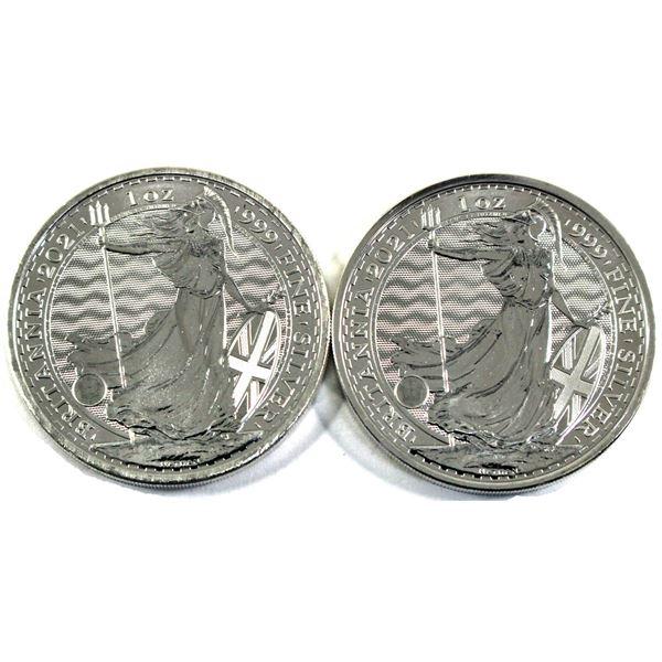 2021 Great Britain 1oz .999 Fine Silver Britannia's. 2pcs (TAX Exempt)