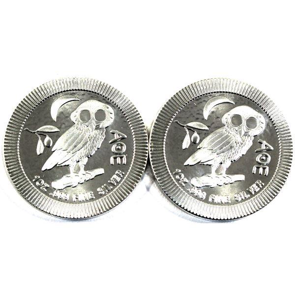 2021 Niue $2 Athenian Owl 1oz .999 Fine Silver Coin. 2pcs (TAX Exempt)