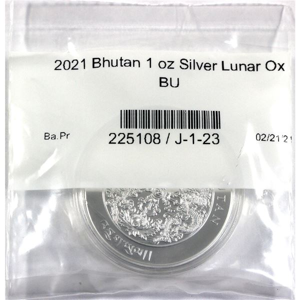 2021 Bhutan 1oz Lunar Year of the Ox .999 Fine Silver Coin in Capsule Sealed in Plastic. (TAX Exempt