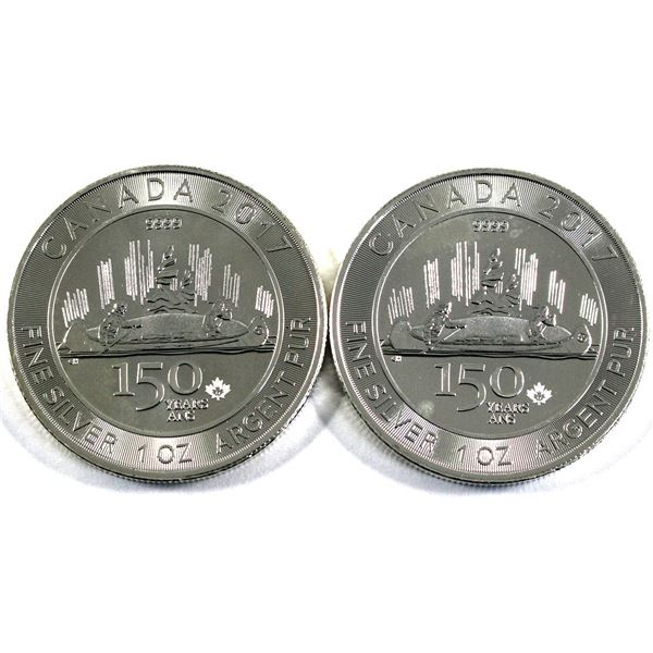 2017 Canada $5 150 Years Special Edition Voyageur 1oz .9999 Fine Silver Coins. 2pcs (TAX Exempt)