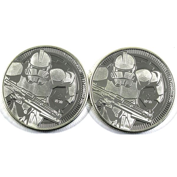 2019 Niue 1oz Star Wars Clone Trooper .999 Fine Silver Coins. 2pcs (TAX Exempt)