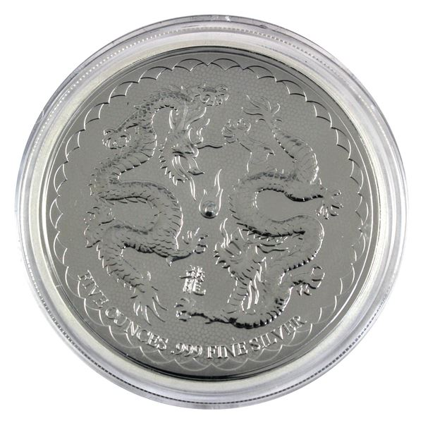 2018 Niue $10 Double Dragon 5oz .999 Fine Silver Coin in Capsule. TAX Exempt