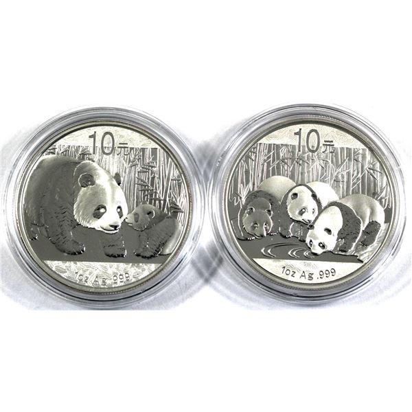 2011 & 2013 China 1oz .999 Fine Silver Pandas in Capsules. 2pcs (TAX Exempt)
