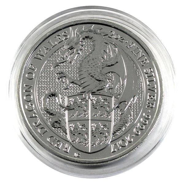 2017 Great Britain 2oz Queen's Beasts - Red Dragon of Wales .9999 Fine Silver Coin in Capsule. (TAX