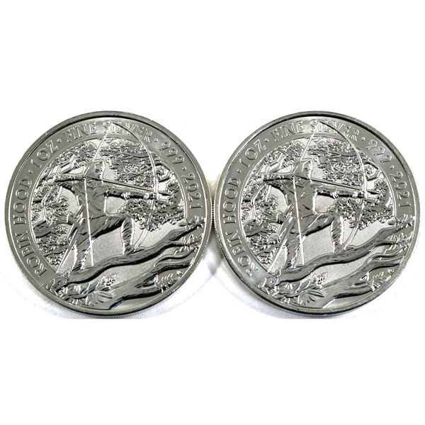 2021 Great Britain 1oz Myths and Legends - Robin Hood .999 Fine Silver Coins. 2pcs (TAX Exempt)