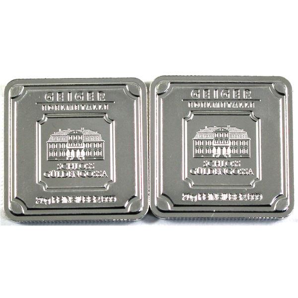 Geiger Edelmetalle 20g .999 Fine Silver Square Bars. 2pcs (TAX Exempt)