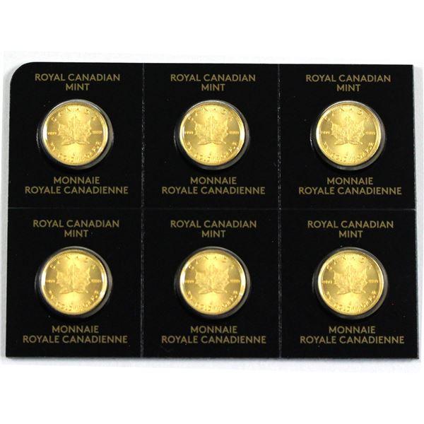 2021 Canada 1 Gram .9999 Fine Gold Maples in Hard Plastic Sheet. 6pcs (TAX Exempt)