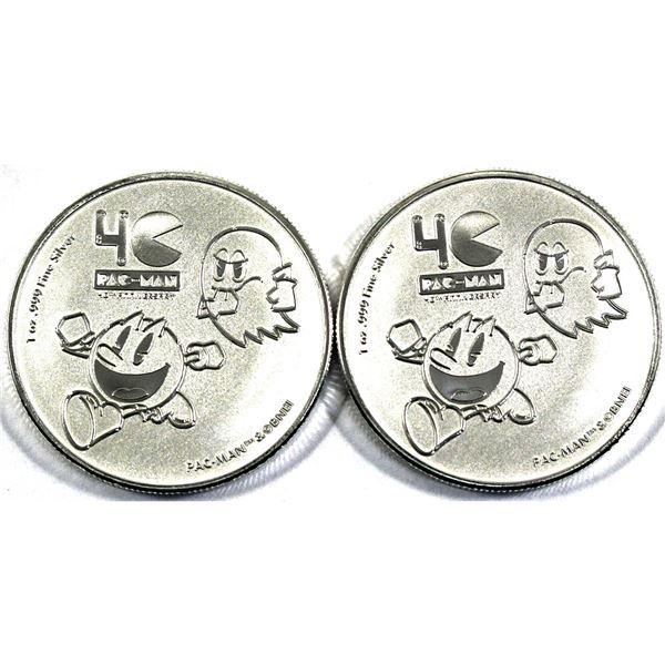 2020 Niue 1oz Pac-Man 40th Anniversary .999 Fine Silver Coins. 2pcs (TAX Exempt)