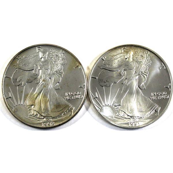 1991 & 1992 USA 1oz .999 Fine Silver Eagles (Toned). 2pcs (TAX Exempt)