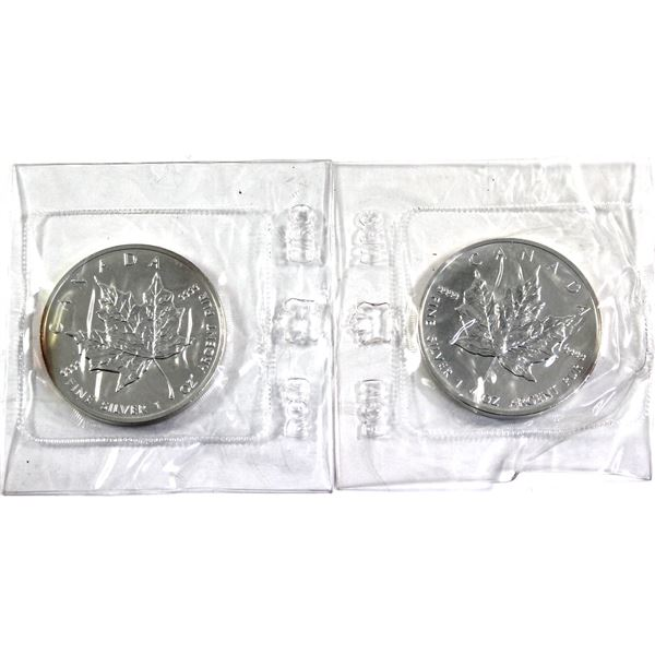 1988 & 1989 Canada 1oz .9999 Fine Silver Maple Leafs in Mint Plastic No Longer Sealed (Lightly toned